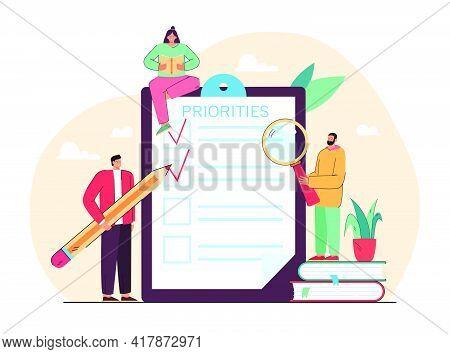 Tiny People Doing Priorities Checklist Flat Vector Illustration. Cartoon Characters Prioritizing Imp