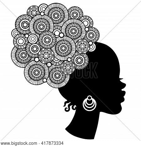 Black Curly Head African American Woman In Mandala Style. Coloring Page For Adult