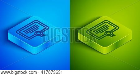 Isometric Line Certificate Template Icon Isolated On Blue And Green Background. Achievement, Award,