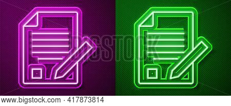 Glowing Neon Line Exam Sheet And Pencil With Eraser Icon Isolated On Purple And Green Background. Te