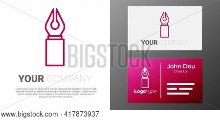Logotype Line Fountain Pen Nib Icon Isolated On White Background. Pen Tool Sign. Logo Design Templat