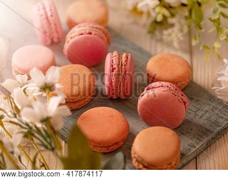 Still Life Of Macarons Delicate, Tasty And Delicious Sandwich Cookies