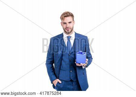 Businessman Man In Businesslike Suit Hold Present Box As Business Reward, Corporate Present.