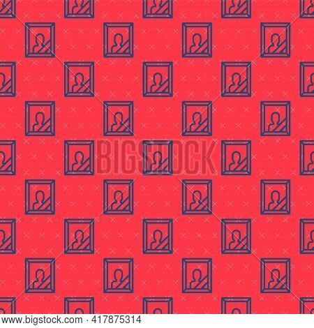 Blue Line Mourning Photo Frame With Black Ribbon Icon Isolated Seamless Pattern On Red Background. F