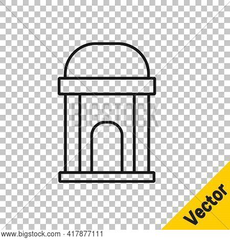 Black Line Old Crypt Icon Isolated On Transparent Background. Cemetery Symbol. Ossuary Or Crypt For