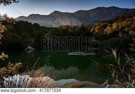 Beautiful Sunset On A Mountain Lake, Suummer Season
