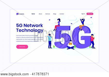 Landing Page Design Concept Of 5th Network Technology. People With Giant 5g Symbol Using High-speed
