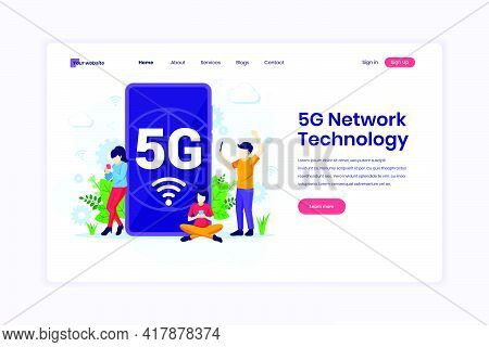 Landing Page Design Concept Of 5g Network Technology. People Using High-speed Wireless Connection 5g