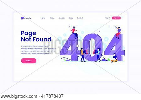 Landing Page Design Concept Of 404 Error Page Not Found With People Trying To Fix Error On A Web Pag