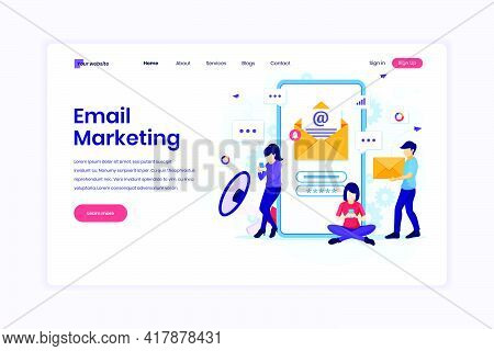 Landing Page Design Concept Of Email Marketing Services, Advertising Campaign, Digital Promotion On
