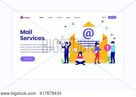 Landing Page Design Concept Of Email Marketing Services, Advertising Campaign, Digital Promotion Wit