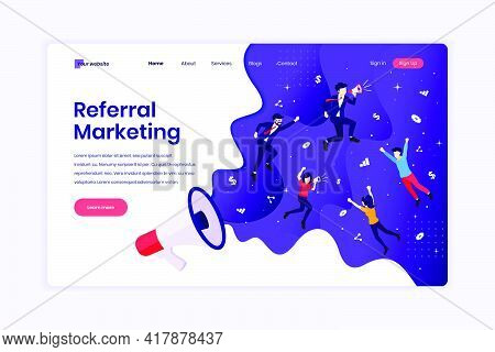 Landing Page Design Concept Of Referral Marketing Concept, Refer A Friend, Promotion Method With Cha