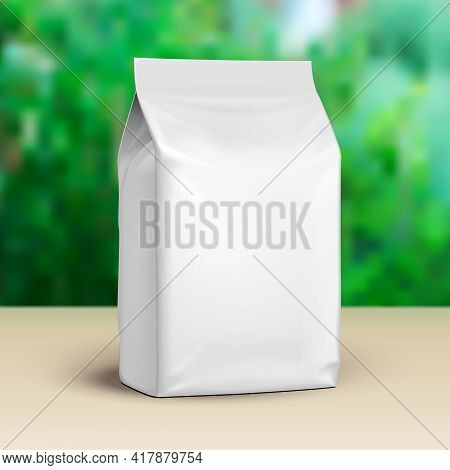 Mockup Blank Stand Up Pouch Snack Sachet Bag. Mock Up, Template. Green Summer Garden Background. Rea