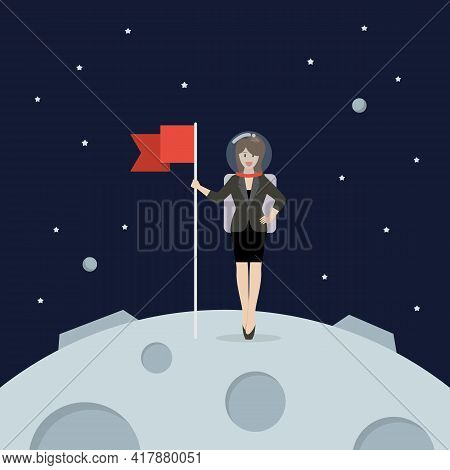 Business Woman Astronaut Landing On Moon Holding Flag. Star And Planets On Galaxy Background. Flat S