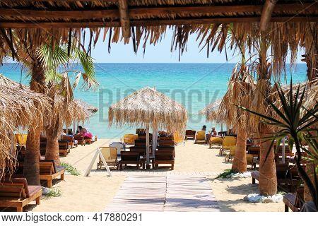 Popular Greece Beach - Ammolofoi. View Of The Beach On The Aegean Coast. Nea Peramos, Kavala, Northe