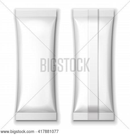 Mockup White Blank Foil Packaging Sachet Coffee, Salt, Sugar, Pepper Or Stick Plastic Pack. Mock Up,