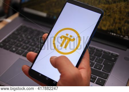 Berlin, Germany - April 22, 2021: Pi Network Logo Displayed On Smartphone. Pi Is A New Digital Curre