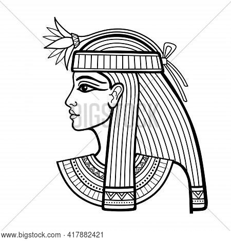 Animation Linear Portrait Of Beautiful Egyptian Woman With Flower. Goddess, Princess. Profile View.
