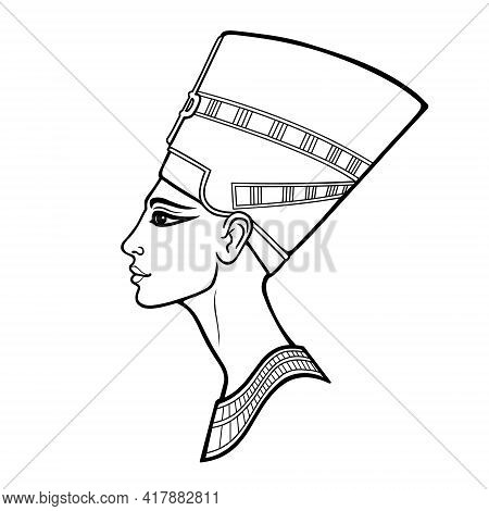 Animation Linear Portrait Of Beautiful Egyptian Woman. Goddess, Princess, Queen. Profile View. Vecto