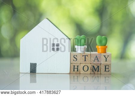 Wooden Cube Block With Stay Home With Miniature Cactus And Placed Near Wood Home. Quarantine Against