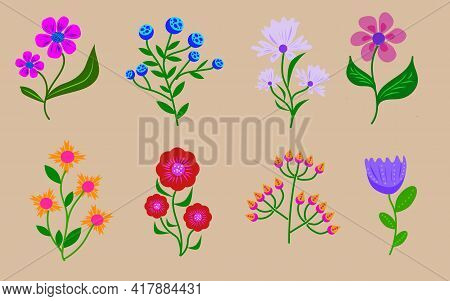 Set Of Hand-drawn Flowers. Flora Vector Elements
