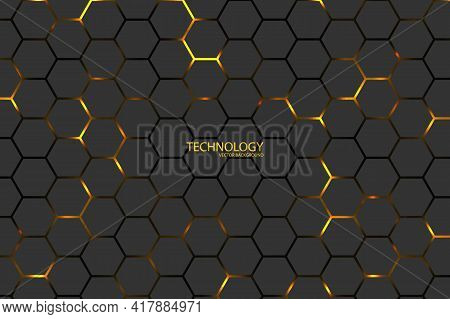 Hexagonal Tech Vector Background. Yellow Energy Flashes Under The Hexagon In Dark Modern Futuristic