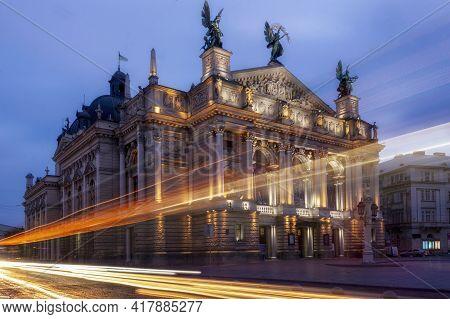Lviv, Ukraine - October 11, 2019: Opera House At Night