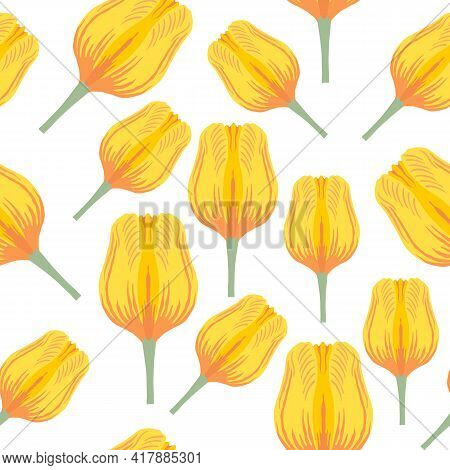 Seamless Pattern With Varietal Vibrant Yellow And Orange Tulip. Tulips Colorful Heads On The White B