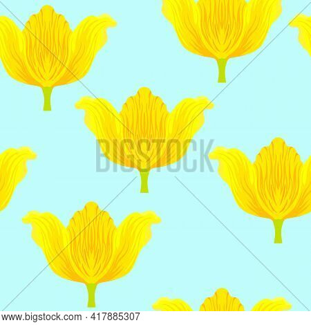 Seamless Pattern With Varietal Vibrant Yellow And Orange Tulip. Tulips Colorful Heads On The Blue Ba