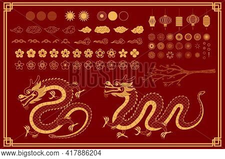 Chinese, Asian Dragon Traditional Oriental Gold Elements Collection, Clouds, Fireworks, Flowers, Sun