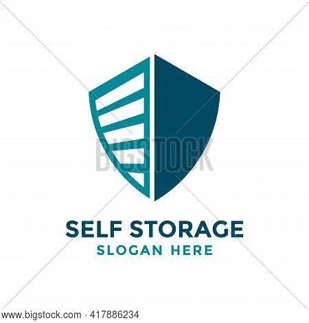 Self Storage Logo Design Template. Safe Storage Garage Vector Illustration. With Combination Concept
