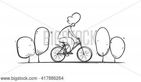 Vector Hand Drawn Yong Man Rides Bike On Park Road. Sketch Bicycle Design.