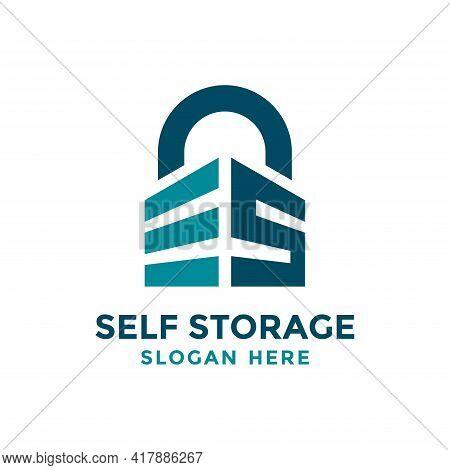 Letter S For Self Storage Logo Design Template. Safe Storage Garage Vector Illustration. With Concep