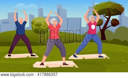 Qigong Energy Background With Three Elderly People Doing Exercises Outdoors Vector Illustration