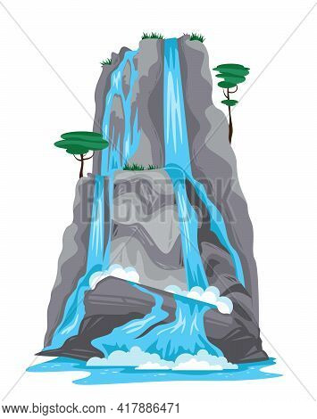 Nature Cartoon Object Of Waterfall Falling From Top Of Mountain Isolated On White Background Vector