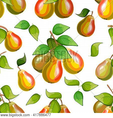 Branches With Pears In A Color Pattern.ripe Pears On A White Background In A Color Vector Pattern.