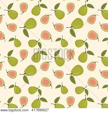 Vector Tropical Pattern With Whole And Cut Guava On A Light Background