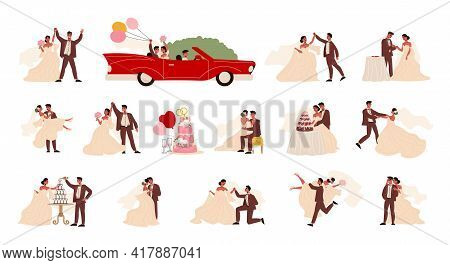 Wedding Couple Marriage Bride Groom Set Of Isolated Human Characters In Costumes With Car And Balloo