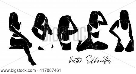 Vector Women Silhouette In Bikini, Swimsuit. Sexy Girls At The Beach, Summer Illustration. Abstract