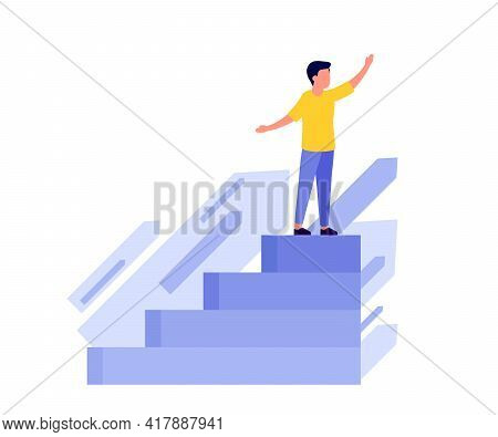 Achievement Success, Career, Vision Future, Seize The Target Through Stair Up. Looking Future Plans