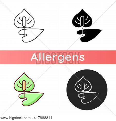 Anthurium Icon. Flamingo Flower. Blooming Laceleaf. Cause Of Allergic Reaction. Dangerous Allergen.