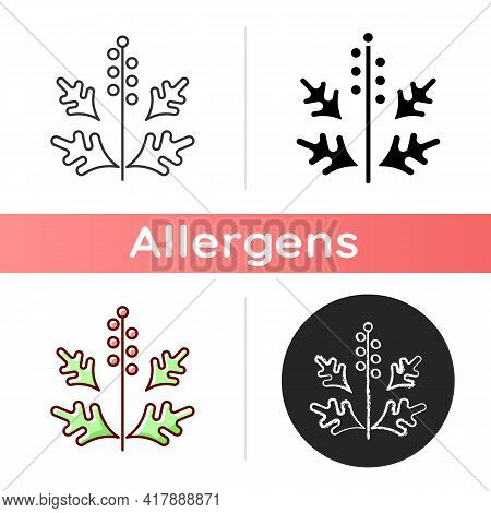 Ragweed Pollen Icon. Blooming Ambrosia. Cause Of Allergic Reaction. Seasonal Dangerous Allergen. All