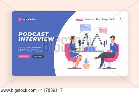 Podcast Interview Show Advertising Banner Or Poster Template. People Making Podcast. Cartoon Charact
