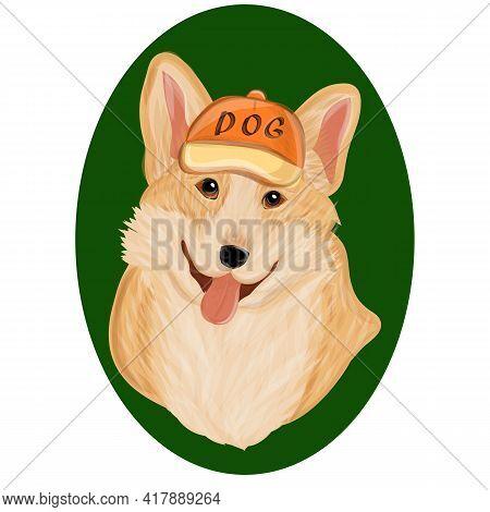 Corgi Dog Cute Cartoon Vector Portrait. Vector Sketch Dog Pembroke Welsh Corgi Smiling