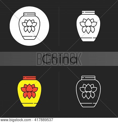 Chinese Porcelain Dark Theme Icon. Traditional Asian Ceramics. Ancient Oriental Pottery. Vase With L