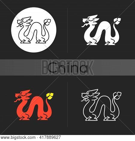 Loong Dragon Dark Theme Icon. Ancient Chinese Traditions. Mythological Creature. Lunar New Year Fest