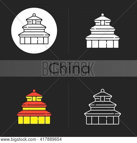 Temple Of Heaven Dark Theme Icon. Religious Place To Pray For Harvest. Chinese Historical Landmark.