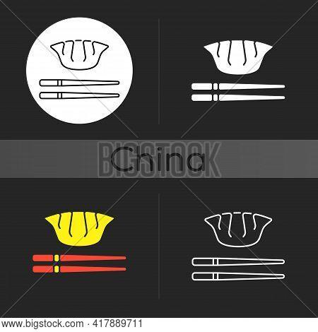 Jiaozi Dark Theme Icon. Gyoza With Chopsticks. Traditional Dumpling. Chinese Cuisine. Lunar New Year