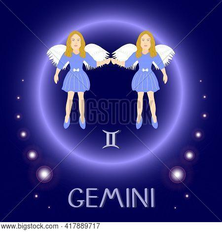 Gemini Zodiac Sign Horoscope Angels. Astrological Symbol