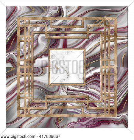Abstract Art Deco Marble Agate Fluid Geometric Background, Modern Minimalist Mosaic Inlay. Pink Grey